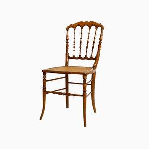 Mid-Century Walnut Chiavari Chair with Viennese Wicker Seat in the Style of Giuseppe Gaetano Descalzi