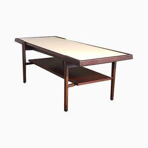 Vintage Scandinavian Coffee Table with Reversible Top in Laminated Teak and White Textured Formica