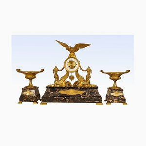 Large Clock with Eagles & Cassolettes with Snakes in Gilt Bronze and Portor, Set of 3