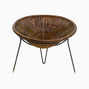 Mid-Century Italian Tripod Basket Chair in Wicker by Roberto Mango
