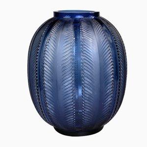 Biskra Vase in Blue Glass by R. Lalique