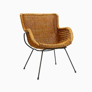 Mid-Century Italian Lounge Chair in Wicker