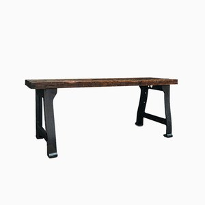 Antique Victorian English Foundry Table in Pine & Iron