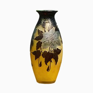 Vase with Double Layer of Yellow and Blue Glass with Clematis by Gallé
