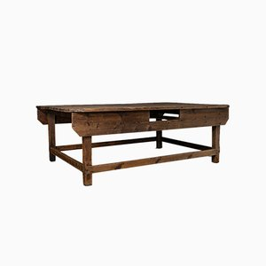 Large Victorian English Textile Table or Shop Display Counter in Pine
