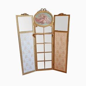 Wood & Gold Mirror Room Divider
