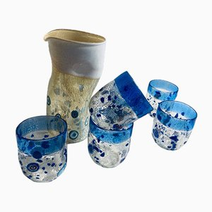 Vintage Italian Murano Glass Drinking Set in Cobalt Blue by Maryana Iskra, Set of 7