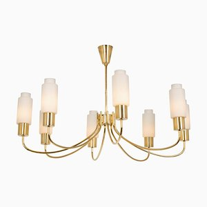 Large Glass Chandelier in the Style of Stilnovo, 1950s