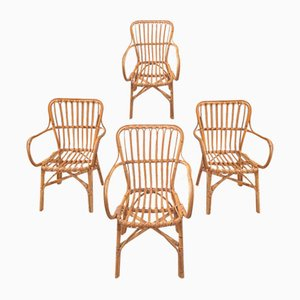 Rattan and Bamboo Chairs, Set of 4