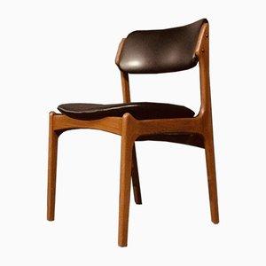 Danish Teak Model 49 Chair in Black Vinyl by Erik Buch