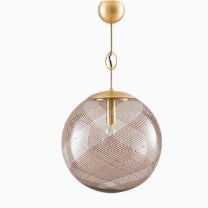 Large Italian Murano Swirl Glass Pendant Lamp from Venini, 1970s