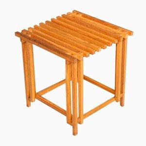 Oak Wooden Side Table, 1970s