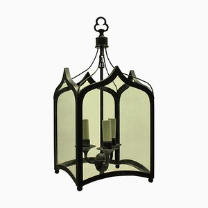 English Gothic-Style Wrought Iron Ceiling Lamps, 1960s, Set of 2