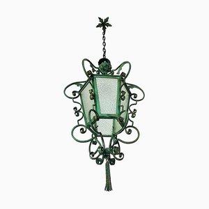 Art Nouveau Lantern or Pendant Lamp in Wrought Iron, France, 1900s