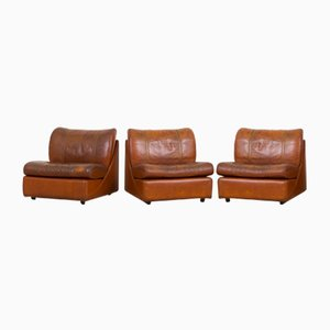 Vintage Aniline Cognac Leather Sofa by Poltrona Frau for Studio 54, 1970s