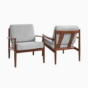 Mid-Century Danish Teak Lounge Chairs by Grete Jalk for France & Søn 1960s, Set of 2