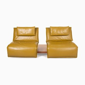 Green & Yellow Leather & Wood Free Motion Sofa from Koinor
