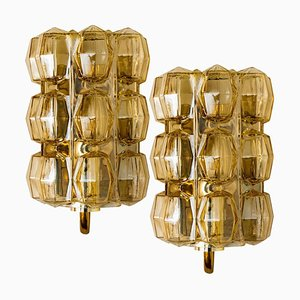 Amber Glass Wall Lights by Helena Tynell for Glashütte, 1960, Set of 2
