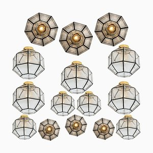 Iron and Clear Glass Ceiling Lamp by Limburg, 1970