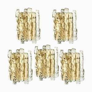Brass & Ice Glass Wall Sconce by J.T. Kalmar for Cor