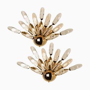 Large Crystal & Gilded Brass Sconces by Oscar Torlasco for Stilkronen, Set of 2