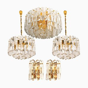 Palazzo Light Fixtures in Gilt Brass and Glass by J. T. Kalmar, 1970s, Set of 5