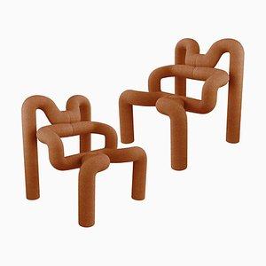 Orange Armchairs by Terje Ekstrom, Norway, 1980s, Set of 2