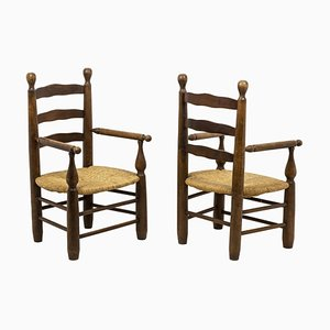 Straw Armchairs in Natural Beech, 1950s, Set of 2