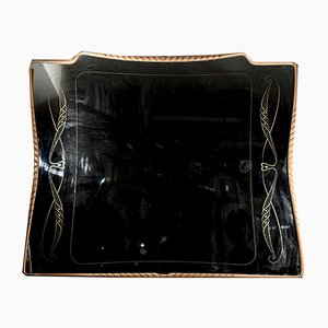 Large Carved Mirror in Two-Tone Frame and Decorated with Gold Attributed to Vittorio Dassi, 1950s