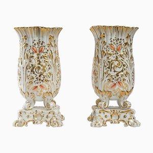 Parisian Porcelain Vases, 19th-Century, Set of 2