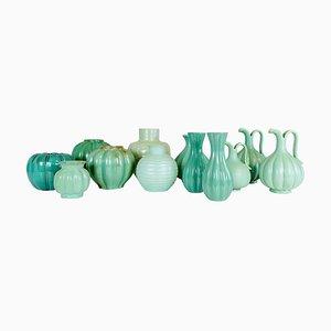 Art Deco Green Ceramics by Ewald Dahlskog for Upsala Ekeby, Sweden, Set of 12