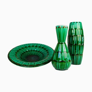 Mid-Century Large Green Ceramic Vases and Platter or Bowl from Upsala Ekeby, 1950s, Set of 3