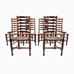 Antique Lancashire Ladder Back Country Chairs, Set of 8