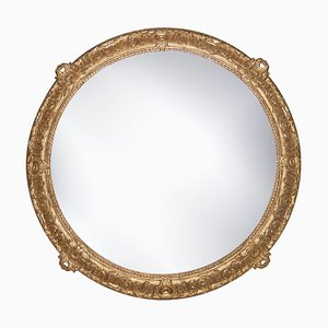 Neoclassical Regency Style Round Gold Hand-Carved Wooden Mirror, 1970s