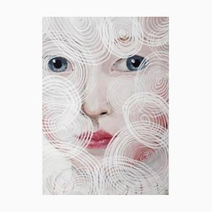 Anne Siems, O.W. Circles, Painting with Female Portrait, Paper, 2017