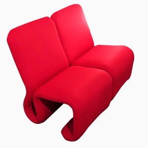 Etcetera Red Modular Clubchairs by Jan Ekselius, Set of 4