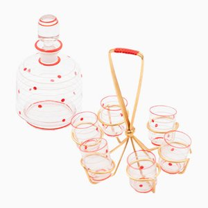 Shot Glasses with Decanter, 1950s, Set of 8