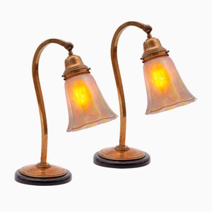 Art Nouveau Bedside Lamps with Glass Shades by Johann Loetz Witwe, Set of 2