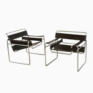 B3 Wassily Armchairs by Marcel Breuer Gavina, 1970s, Set of 2