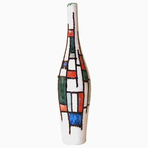 Botella de cerámica multicolor de Guido Gambone, años 60