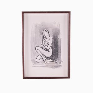 Handmade Drawing or Sketch, Nude Woman, 1960s