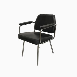 Space Age Black Leather Armchair, 1970s