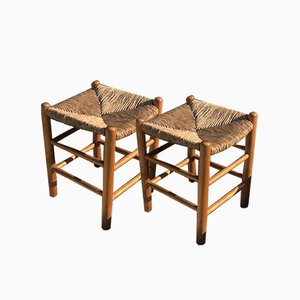 Straw No. 17 Bauche Stools by Charlotte Perriand, 1950s, Set of 2