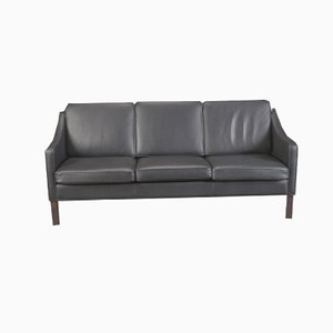 Black Leather Model Manhatten Sofa from Hurup Møbler