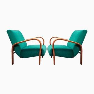 Green Velvet Lounge Chair by K. Kozelka and A. Kropacek for Interier Praha, 1950s