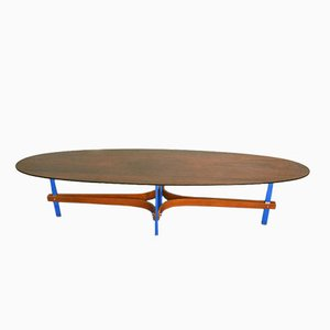 Mid-Century Rosewood and Chromed Oval Coffee Table by Guglielmo Ulrich