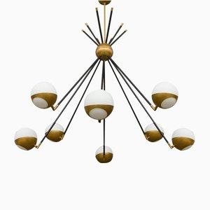 Italian Brass Sputnik Chandelier in the Style of Stilnovo