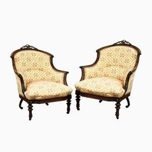 Victorian Rosewood Ladies and Gentleman Armchairs, Set of 2