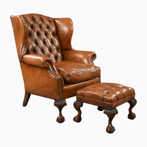Antique Leather Armchair & Stool, Set of 2