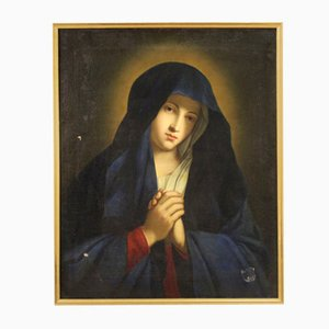 Antique Italian Painting, Praying Virgin, 18th-Century